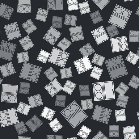 Grey Makeup powder with mirror icon isolated seamless pattern on black background. Vector Illustration