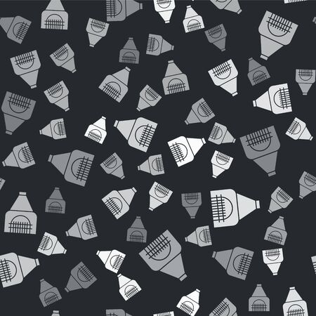 Grey Interior fireplace icon isolated seamless pattern on black background. Vector Illustration