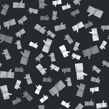 Grey Hand thumb up icon isolated seamless pattern on black background. Vector Illustration Ilustração
