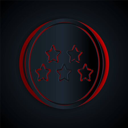 Paper cut Five stars customer product rating review icon isolated on black background. Favorite, best rating, award symbol. Paper art style. Vector Illustration Stock Illustratie