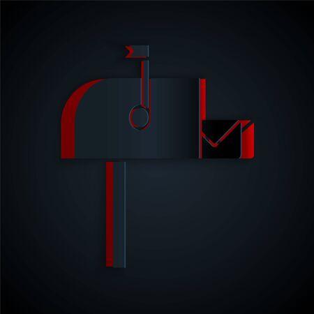Papier découpé Icône de boîte aux lettres ouverte isolé sur fond noir. Icône de boîte aux lettres. Mail postbox sur poteau avec drapeau. Style d'art du papier. Illustration vectorielle