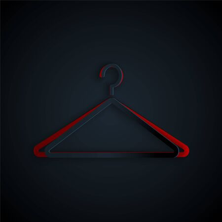Paper cut Hanger wardrobe icon isolated on black background. Cloakroom icon. Clothes service symbol. Laundry hanger sign. Paper art style. Vector Illustration