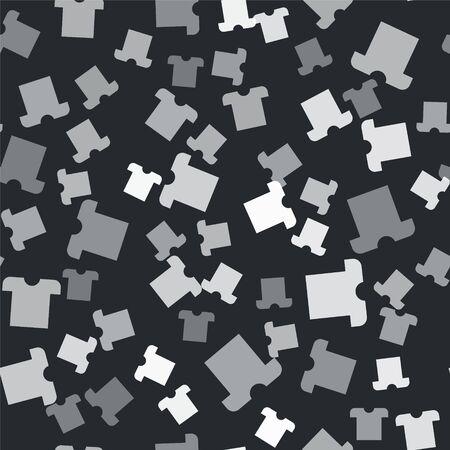 Grey T-shirt icon isolated seamless pattern on black background.  Vector Illustration Standard-Bild - 139188052