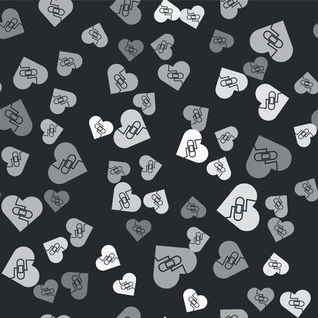 Grey Healed broken heart or divorce icon isolated seamless pattern on black background. Shattered and patched heart. Love symbol. Valentines day. Vector Illustration