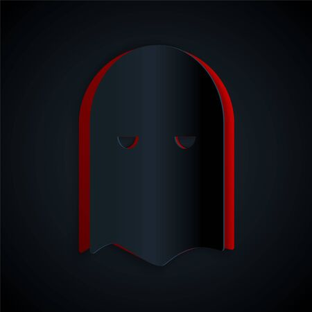 Paper cut Executioner mask icon isolated on black background. Hangman, torturer, executor, tormentor, butcher, headsman icon. Paper art style. Vector Illustration