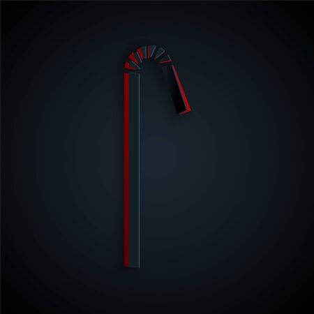 Paper cut Drinking plastic straw icon isolated on black background. Paper art style. Vector Illustration