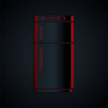 Paper cut Refrigerator icon isolated on black background. Fridge freezer refrigerator. Household tech and appliances. Paper art style. Vector Illustration
