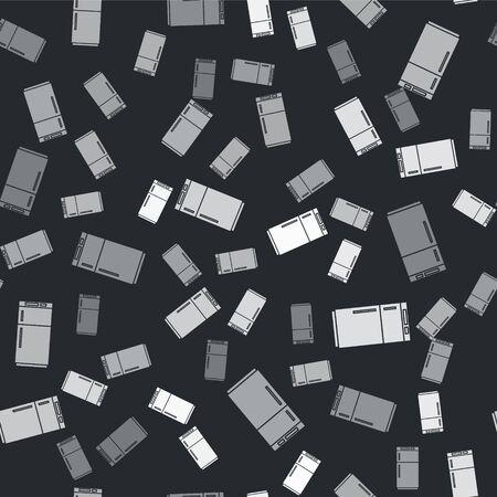 Grey Refrigerator icon isolated seamless pattern on black background. Fridge freezer refrigerator. Household tech and appliances. Vector Illustration