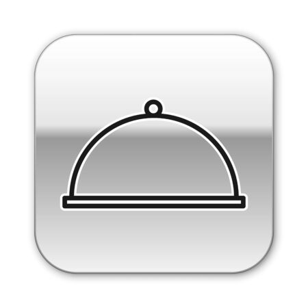 Black line Covered with a tray of food icon isolated on white background. Tray and lid. Restaurant cloche with lid. Kitchenware symbol. Silver square button. Vector Illustration