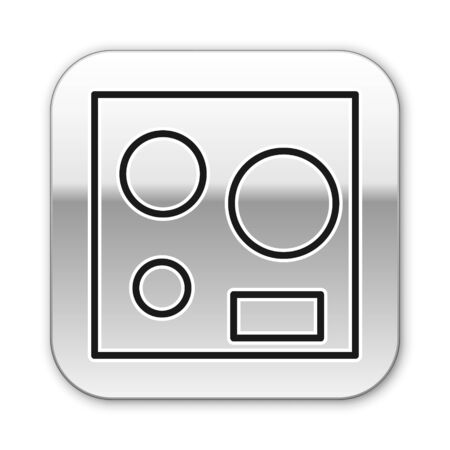 Black line Electric stove icon isolated on white background. Cooktop sign. Hob with four circle burners. Silver square button. Vector Illustration Vetores
