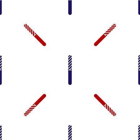 Blue and red Nail file icon isolated seamless pattern on white background. Manicure tool. Vector Illustration