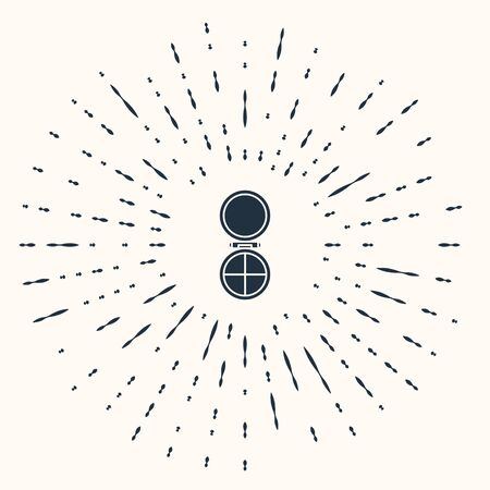 Grey Makeup powder with mirror icon isolated on beige background. Abstract circle random dots. Vector Illustration