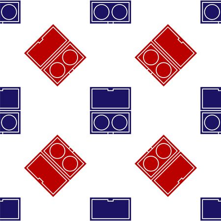 Blue and red Makeup powder with mirror icon isolated seamless pattern on white background. Vector Illustration