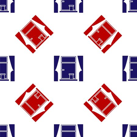 Blue and red Window with curtains in the room icon isolated seamless pattern on white background. Vector Illustration  イラスト・ベクター素材