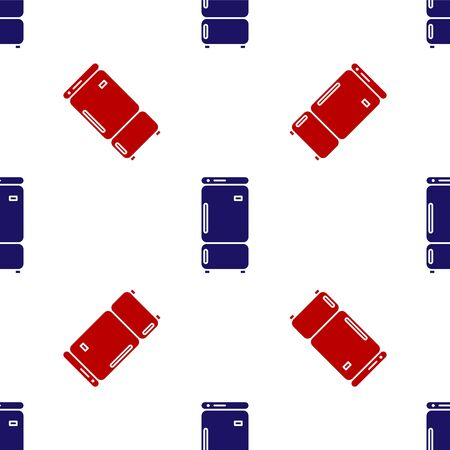 Blue and red Refrigerator icon isolated seamless pattern on white background. Fridge freezer refrigerator. Household tech and appliances. Vector Illustration