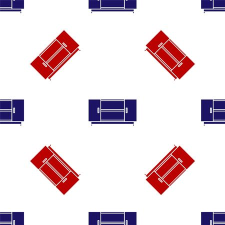 Blue and red TV table stand icon isolated seamless pattern on white background. Vector Illustration