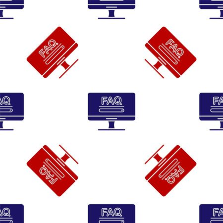 Blue and red Computer monitor with text FAQ information icon isolated seamless pattern on white background. Frequently asked questions. Vector Illustration