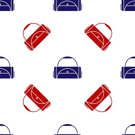 Blue and red Sport bag icon isolated seamless pattern on white background. Vector Illustration Vettoriali