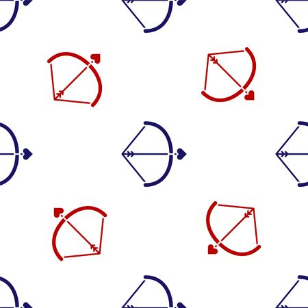 Blue and red Bow and arrow icon isolated seamless pattern on white background. Cupid symbol. Love sign. Valentines day concept. Vector Illustration Illustration