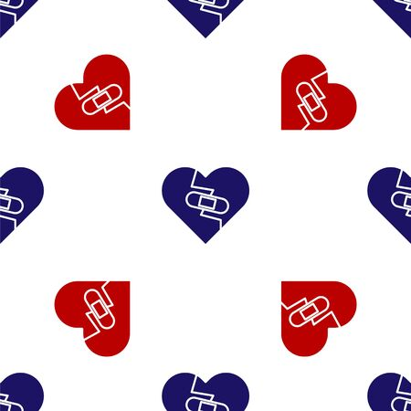 Blue and red Healed broken heart or divorce icon isolated seamless pattern on white background. Shattered and patched heart. Love symbol. Valentines day. Vector Illustration