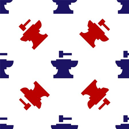 Blue and red Anvil for blacksmithing and hammer icon isolated seamless pattern on white background. Metal forging. Forge tool. Vector Illustration Ilustracja
