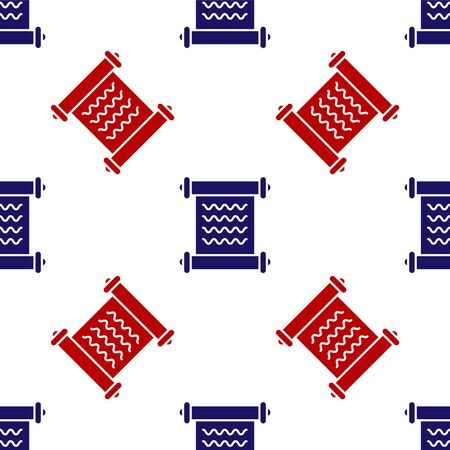 Blue and red Decree, paper, parchment, scroll icon icon isolated seamless pattern on white background. Vector Illustration