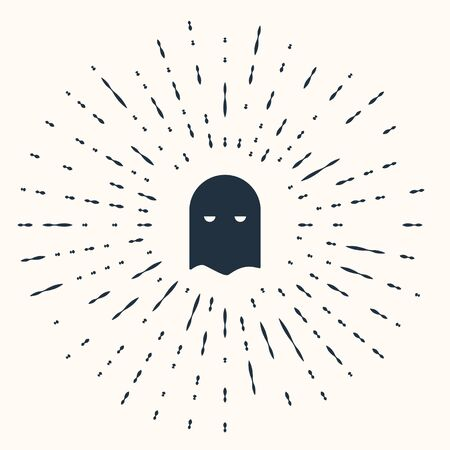 Grey Executioner mask icon isolated on beige background. Hangman, torturer, executor, tormentor, butcher, headsman icon. Abstract circle random dots. Vector Illustration Иллюстрация
