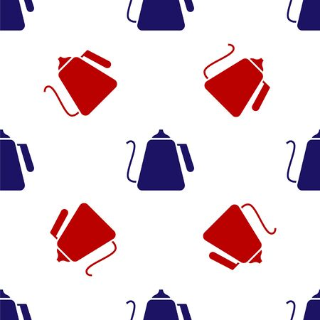 Blue and red Kettle with handle icon isolated seamless pattern on white background. Teapot icon. Vector Illustration Vector Illustration