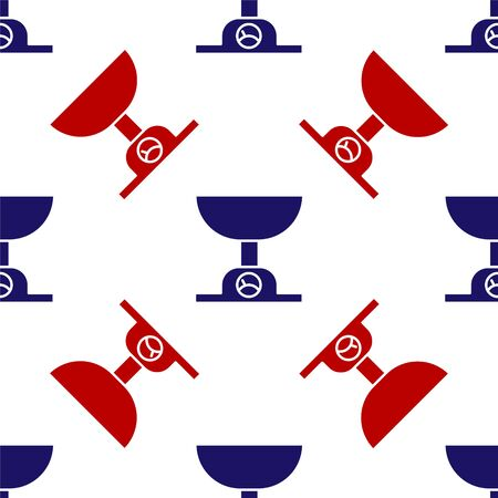Blue and red Electronic scales icon isolated seamless pattern on white background. Weight measure equipment. Vector Illustration