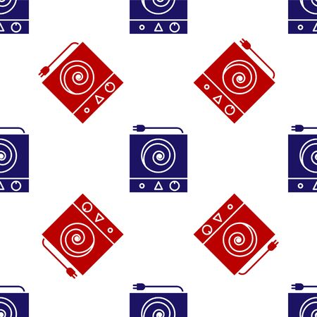 Blue and red Electric stove icon isolated seamless pattern on white background. Cooktop sign. Hob with four circle burners. Vector Illustration