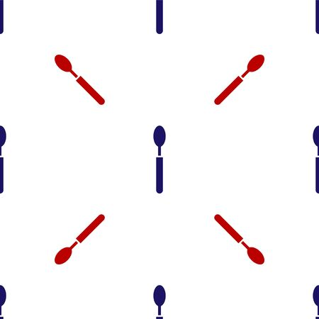 Blue and red Spoon icon isolated seamless pattern on white background. Cooking utensil. Cutlery sign. Vector Illustration Illusztráció