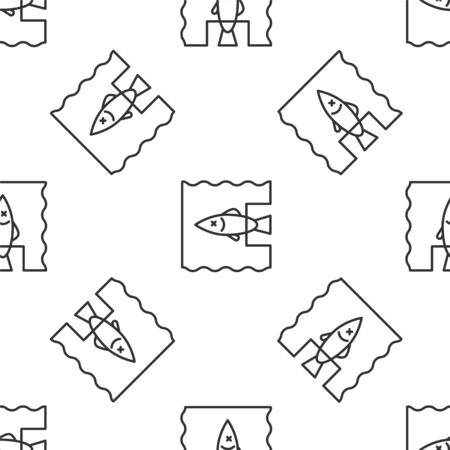 Grey line Stop ocean plastic pollution icon isolated seamless pattern on white background. Environment protection concept. Fish say no to plastic. Vector Illustration Illusztráció