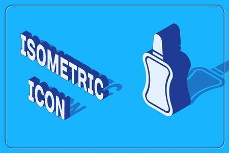 Isometric Nail polish bottle icon isolated on blue background. Vector Illustration Illustration