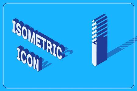 Isometric Nail file icon isolated on blue background. Manicure tool. Vector Illustration Illusztráció