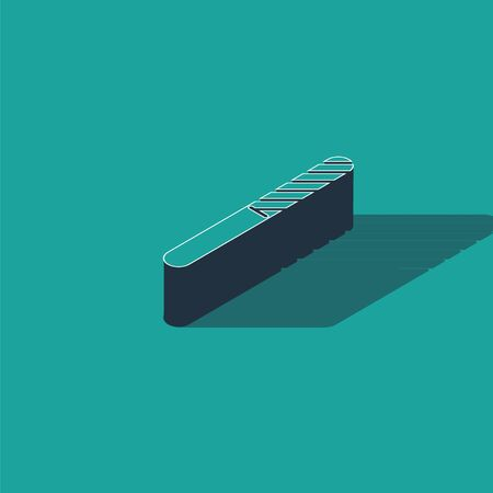 Isometric Nail file icon isolated on green background. Manicure tool. Vector Illustration
