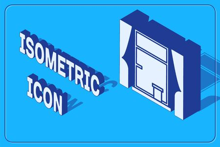 Isometric Window with curtains in the room icon isolated on blue background. Vector Illustration  イラスト・ベクター素材