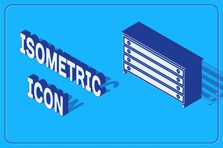 Isometric Chest of drawers icon isolated on blue background. Vector Illustration