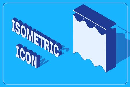 Isometric Curtains icon isolated on blue background. Vector Illustration
