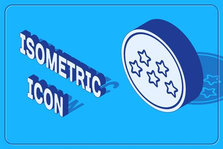 Isometric Five stars customer product rating review icon isolated on blue background. Favorite, best rating, award symbol. Vector Illustration