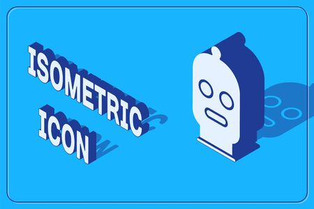 Isometric Balaclava icon isolated on blue background. A piece of clothing for winter sports or a mask for a criminal or a thief. Vector Illustration