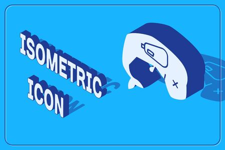 Isometric Environment protection concept whale dead icon isolated on blue background. Vector Illustration Stock Illustratie