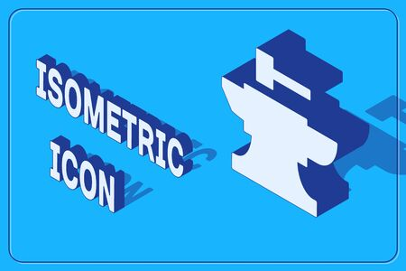 Isometric Anvil for blacksmithing and hammer icon isolated on blue background. Metal forging. Forge tool. Vector Illustration