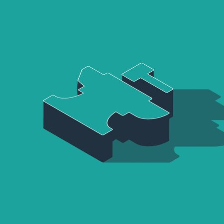 Isometric Anvil for blacksmithing and hammer icon isolated on green background. Metal forging. Forge tool. Vector Illustration