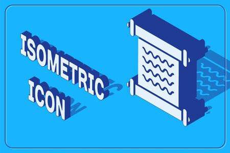 Isometric Decree, paper, parchment, scroll icon icon isolated on blue background. Vector Illustration