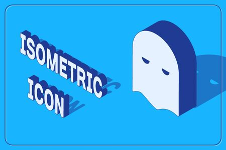 Isometric Executioner mask icon isolated on blue background. Hangman, torturer, executor, tormentor, butcher, headsman icon. Vector Illustration