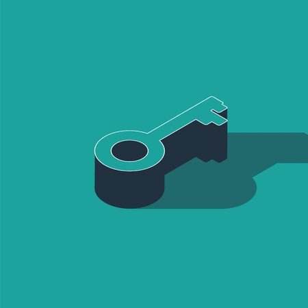 Isometric Old key icon isolated on green background. Vector Illustration
