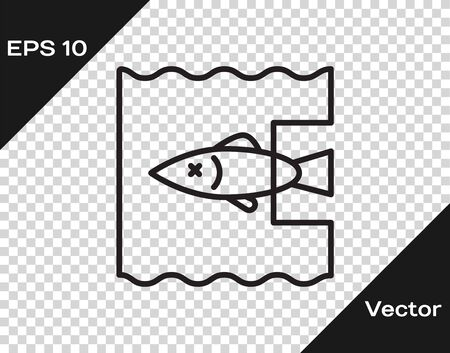 Black line Stop ocean plastic pollution icon isolated on transparent background. Environment protection concept. Fish say no to plastic. Vector Illustration