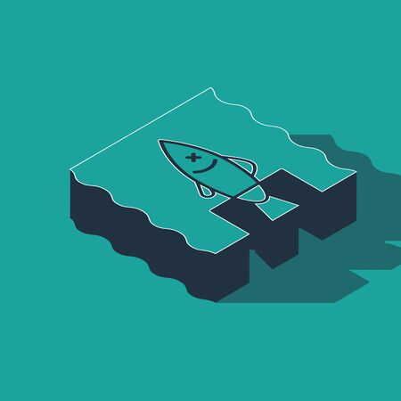 Isometric Stop ocean plastic pollution icon isolated on green background. Environment protection concept. Fish say no to plastic. Vector Illustration