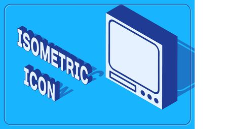 Isometric Electronic scales icon isolated on blue background. Weight measure equipment. Vector Illustration Çizim