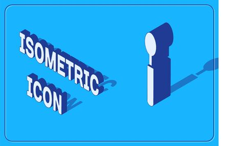 Isometric Spoon icon isolated on blue background. Cooking utensil. Cutlery sign. Vector Illustration
